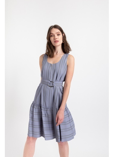 Rue Fermuar Detaylı Çizgili Elbise Gri